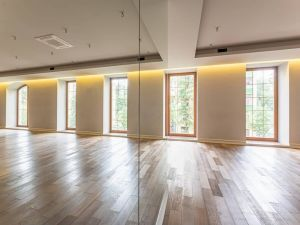 Зал с панорамными окнами